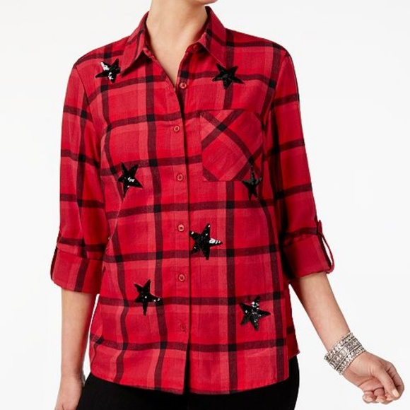d9842cb5d Style & Co Tops | Womens Red Cotton Sequined Plaid Flannel Shirt ...